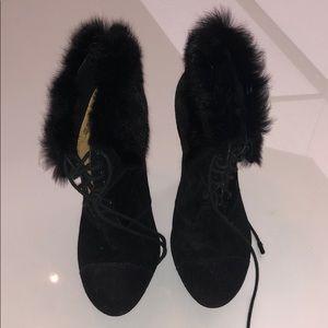 Rabbit fur platform bootie